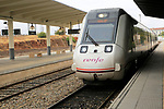 RENFE train arriving at platform of railway station, Caceres, Extremadura, Spain