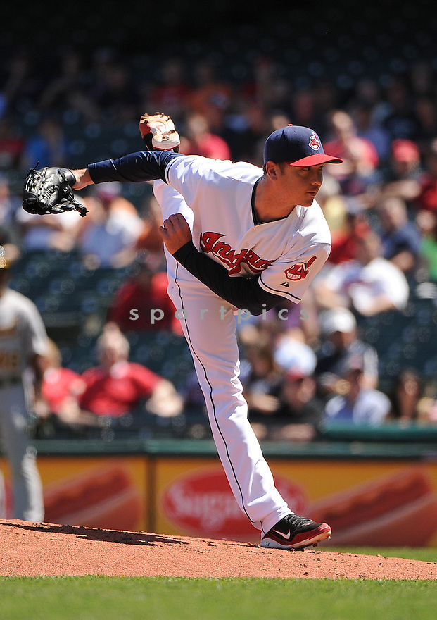 Cleveland Indians Scott Kazmir (26) during a game against the Oakland A's on May 9, 2013 at Progressive Field in Cleveland, OH. The Indians beat the A's 9-2.