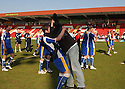 Scott Laird of Stevenage Borough and Matt Ranson celebrate promotion after the Blue Square Premier match between Kidderminster Harriers and Stevenage Borough at the Aggborough Stadium, Kidderminster on Saturday 17th April, 2010..© Kevin Coleman 2010