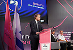 Luca Lotti, Italian Sports Minister, speaks at the launch of The Big Start of the Giro d'Italia 2018 running from the 4th to 27th May 2018, Jerusalem, Israel 18th September 2017.<br /> Picture: RCS | Cyclefile<br /> <br /> <br /> All photos usage must carry mandatory copyright credit (&copy; Cyclefile | RCS)