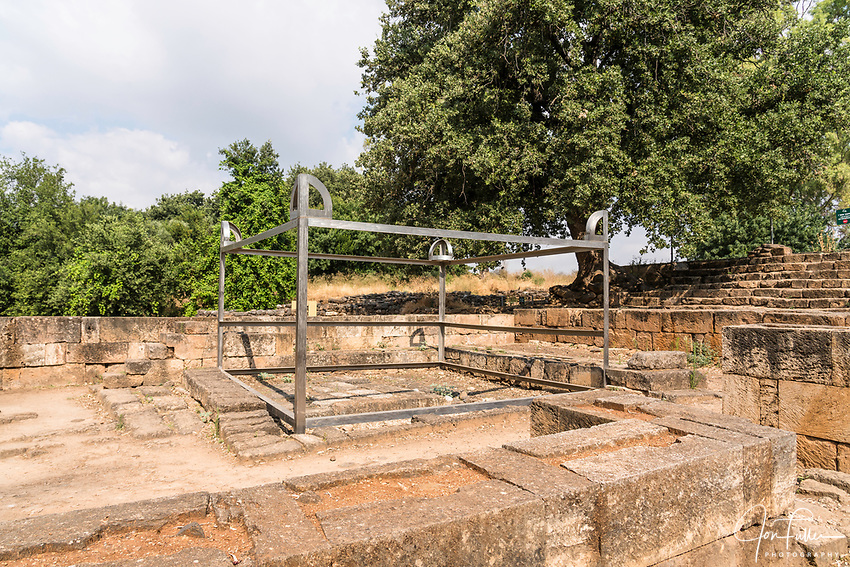 The site of the altar of the golden calves in the ruins of the Old Testament city of Dan in the Tel Dan Nature Reserve in Galilee in northern Israel.