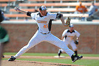 Nick Blunt #41 of the Tennessee Volunteers delivers a pitch at Lindsey Nelson Stadium against the the Manhattan Jaspers on March 12, 2011 in Knoxville, Tennessee.  Tennessee won the first game of the double header 11-5.  Photo by Tony Farlow / Four Seam Images..