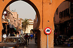 The old city in the Medina of Marrakech has many small streets filled with shoppers and tourists looking for bargains.