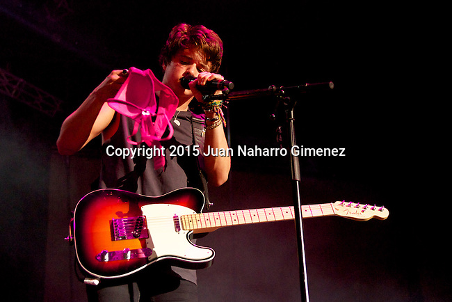 MADRID, SPAIN - MAY 16:  Bradley Simpson of The Vamps performs on stage at Palacio de Vistalegre on May 16, 2015 in Madrid, Spain.  (Photo by Juan Naharro Gimenez)