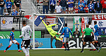 Corinthians crack the ball off the post as Wes Foderingham reacts