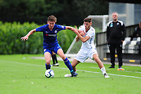 James Clark of Chelsea FC battles with Luke Motruk of Swansea City in action during the Premier League u18 match between Swansea City AFC and Chelsea FC at Landore Training Ground, Wales, UK. Tuesday 11th September 2018