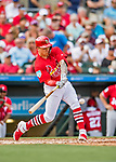 24 February 2019: St. Louis Cardinals top prospect infielder Tyler O'Neill hits a solo home run in the 4th inning of a Spring Training game against the Washington Nationals at Roger Dean Stadium in Jupiter, Florida. The Cardinals fell to the Nationals 12-2 in Grapefruit League play. Mandatory Credit: Ed Wolfstein Photo *** RAW (NEF) Image File Available ***