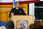 Deputy Chief Chris Vaughn speaks at a badge-pinning ceremony at Carson Fire Department in Carson City, Nev., on Monday, Oct. 16, 2017. <br /> Photo by Cathleen Allison/Nevada Momentum