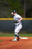 Eastern Michigan Eagles second baseman Drake Peggs (5) throws to first base during a game against the Dartmouth Big Green on February 25, 2017 at North Charlotte Regional Park in Port Charlotte, Florida.  Dartmouth defeated Eastern Michigan 8-4.  (Mike Janes/Four Seam Images)