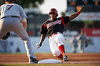 Batavia Muckdogs outfielder Stone Garrett (11) slides into third on a triple during a game against the Mahoning Valley Scrappers on July 3, 2015 at Dwyer Stadium in Batavia, New York.  Batavia defeated Mahoning Valley 7-4.  (Mike Janes/Four Seam Images)