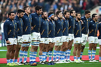 The Argentina team sing their national anthem. Old Mutual Wealth Series International match between England and Argentina on November 11, 2017 at Twickenham Stadium in London, England. Photo by: Patrick Khachfe / Onside Images