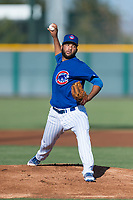 AZL Cubs 1 starting pitcher Jesus Tejada (55) delivers a pitch during an Arizona League game against the AZL Indians 1 at Sloan Park on August 27, 2018 in Mesa, Arizona. The AZL Cubs 1 defeated the AZL Indians 1 by a score of 3-2. (Zachary Lucy/Four Seam Images)