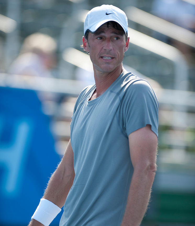 Aaron Krickstein (USA) in action during his victory over Mats Wilander (SWE) in their 3rd/4th Place Play Off match today - A Krickstein (USA) d M Wilander (SWE) 4-6 7-5 10-5..Tennis - ATP Champions Tour - 2013 Delray Beach International Tennis Championships - Day 3 - Sunday 24th February 2013 - Delray Beach Stadium & Tennis Center - Delray Beach - Florida - USA..© CameraSport - 43 Linden Ave. Countesthorpe. Leicester. England. LE8 5PG - Tel: +44 (0) 116 277 4147 - admin@camerasport.com - www.camerasport.com
