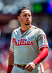 23 August 2018: Philadelphia Phillies infielder Asdrubal Cabrera returns to the dugout during a game against the Washington Nationals at Nationals Park in Washington, DC. The Phillies shut out the Nationals 2-0 to take the 3rd game of their 3-game mid-week divisional series. Mandatory Credit: Ed Wolfstein Photo *** RAW (NEF) Image File Available ***