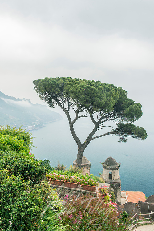 Europe, Italy, Amalfi Coast, Ravello, View of Coastline from Villa Rufolo