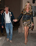 May 5th 2012..Rod Stewart holding hands with  Penny Lancaster as they couple left Bouchon Restaurant in Beverly Hills. Rod was wearing a blue blazer jacket .  Penny was wearing a yellow brown blue green multi color dress ..AbilityFilms@yahoo.com.805-427-3519.www.AbilityFilms.com