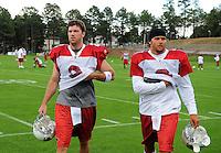 Jul 31, 2009; Flagstaff, AZ, USA; Arizona Cardinals quarterbacks (3) Tyler Palko and (2) Brian St. Pierre during training camp on the campus of Northern Arizona University. Mandatory Credit: Mark J. Rebilas-