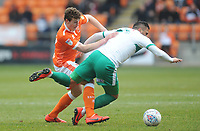 Blackpool's Matthew Virtue vies for possession with Plymouth Argyle's Antoni Sarcevic<br /> <br /> Photographer Kevin Barnes/CameraSport<br /> <br /> The EFL Sky Bet League One - Blackpool v Plymouth Argyle - Saturday 30th March 2019 - Bloomfield Road - Blackpool<br /> <br /> World Copyright © 2019 CameraSport. All rights reserved. 43 Linden Ave. Countesthorpe. Leicester. England. LE8 5PG - Tel: +44 (0) 116 277 4147 - admin@camerasport.com - www.camerasport.com