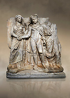 "Roman Sebasteion releif sculpture of emperor Claudius and Agrippina, Aphrodisias Museum, Aphrodisias, Turkey.  Against an art background.<br /> <br /> Claudius in heroic nudity and military cloak shakes hands with his wife Agrippina and is crowned by the Roman people or the Senate wearing a toga. The subject is imperial concord with the traditional Roman state. Agrippina holds ears of wheat: like Demeter goddess of fertility. The emperor is crowned with an oak wreath, the Corona civica or ""citizen crow"", awarded to Roman leaders for saving citizens lives: the emperor id therefore represented as saviour of the people."