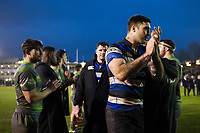 Matt Banahan of Bath Rugby leads his team-mates off the field after the match. Anglo-Welsh Cup match, between Bath Rugby and Newcastle Falcons on January 27, 2018 at the Recreation Ground in Bath, England. Photo by: Patrick Khachfe / Onside Images