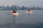Vancouver, city skyline, Burrard Inlet, British Columbia Canada, women, sea kayaking, released,