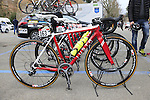 Servetto Giusta Team bikes lined up before the start of the Ladies 2017 Strade Bianche running 127km from Siena to Siena, Tuscany, Italy 4th March 2017.<br /> Picture: Eoin Clarke   Newsfile<br /> <br /> <br /> All photos usage must carry mandatory copyright credit (&copy; Newsfile   Eoin Clarke)