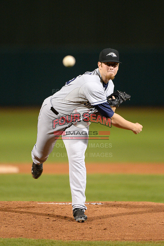 Peoria Javelinas pitcher Johnny Barbato (26), of the San Diego Padres organization, during an Arizona Fall League game against the Mesa Solar Sox on October 17, 2013 at HoHoKam Park in Mesa, Arizona.  Mesa defeated Peoria 6-1.  (Mike Janes/Four Seam Images)