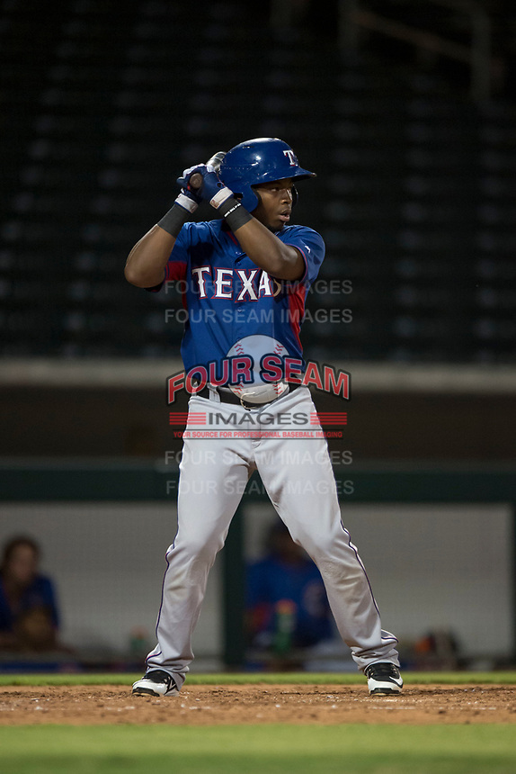 AZL Rangers first baseman Stanley Martinez (29) at bat during an Arizona League game against the AZL Cubs 2 at Sloan Park on July 7, 2018 in Mesa, Arizona. AZL Rangers defeated AZL Cubs 2 11-2. (Zachary Lucy/Four Seam Images)