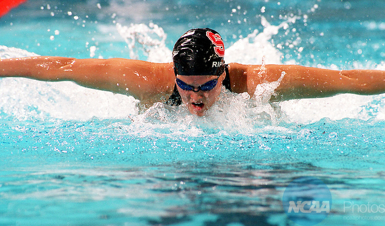 23 MAR 2002:  Shelly Ripple of Stanford University swims the 200 butterfly during the Division 1 Women's Swimming and Diving Championships held at the Texas Aquatic Center on the University of Texas campus in Austin, TX.  Ripple won the event with a  record setting time of 1:53.23.  Jamie Schwaberow/NCAA Photos