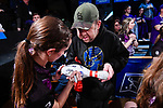 CLAYTON, MO - APRIL 14: Sarah Wille #3 of McKendree University signs a bowling pin for a fan following the Division I Women's Bowling Championship held at Tropicana Lanes on April 14, 2018 in Clayton, Missouri. Vanderbilt University defeated McKendree University 4-3. (Photo by Tim Nwachukwu/NCAA Photos via Getty Images)