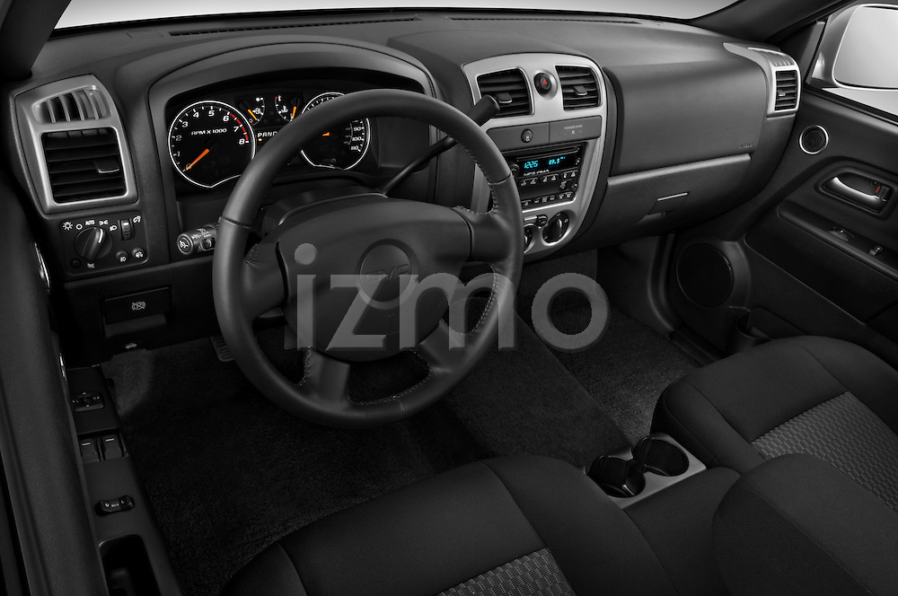 High angle dashboard view of a 2009 GMC Canyon SLE Extended Cab