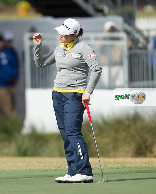 Hana Jang after missing an eagle putt on 18 during the Second Day of the Third round of the LPGA Coates Golf Championship 2016 , from the Golden Ocala Golf and Equestrian Club, Ocala, Florida. 6/2/16<br /> Picture: Mark Davison | Golffile<br /> <br /> <br /> All photos usage must carry mandatory copyright credit (&copy; Golffile | Mark Davison)