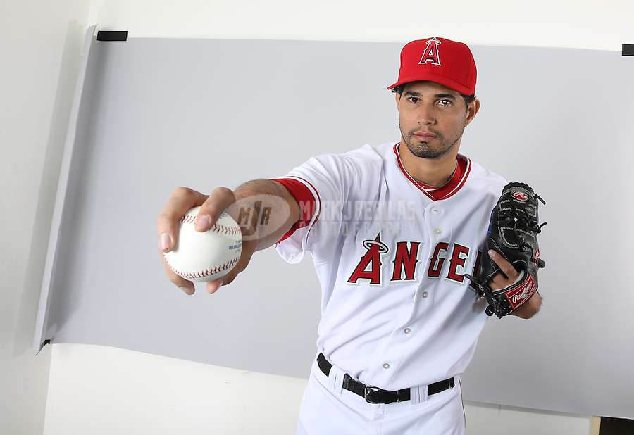 Feb. 21, 2113; Tempe, AZ, USA: Los Angeles Angels pitcher Fernando Cabrera poses for a portrait during photo day at Tempe Diablo Stadium. Mandatory Credit: Mark J. Rebilas-