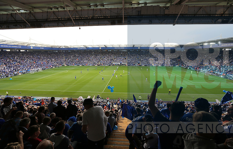Leicester's fans celebrate during the match during the Barclays Premier League match at the King Power Stadium.  Photo credit should read: David Klein/Sportimage