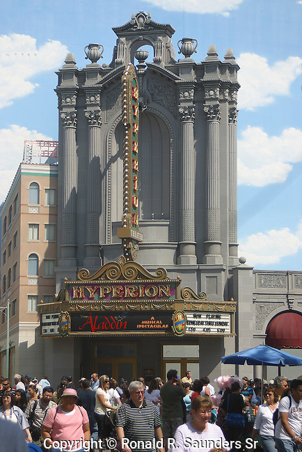 The Hyperion Theater is located at Disney California Adventure, in the Hollywood Land area, adjacent to the Twilight Zone Tower of Terror.[1] It currently shows Disney's Aladdin: A Musical Spectacular. The theater can seat up to 2,000 people.<br /> <br /> The facade is modelled after that of the now-defunct Los Angeles Theatre on LA's Broadway.
