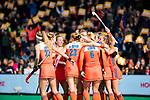 ROTTERDAM -  Celebration  na een goal, tijdens de Pro League hockeywedstrijd dames, Nederland-USA . COPYRIGHT
