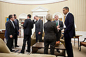 United States President Barack Obama talks with U.S. Senator Patty Murray (Democrat of Washington) and U.S. Senator Dick Durbin (Democrat of Illinois), following a meeting with Senate Democratic leadership in the Oval Office, March 9, 2011. From left, National Economic Council Director Gene Sperling and Office of Management and Budget Director Jack Lew talk with Deputy Senior Advisor Stephanie Cutter, Senior Advisor David Plouffe, and U.S. Senator Chuck Schumer (Democrat of New York)..Mandatory Credit: Pete Souza - White House via CNP