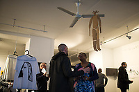 """NEW YORK, NY - MARCH 31: Jazz's singer Cécile McLorin Salvant (C) speaks with attendees during her expo """"The Adventures of the invisible Woman"""" at RAW space on March 31, 2017 in Harlem, New York. Photo by VIEWpress/Eduardo MunozAlvarez"""