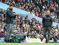 2nd November 2019; Etihad Stadium, Manchester, Lancashire, England; English Premier League Football, Manchester City versus Southampton; Southampton manager Ralph Hasenhuttl shouts instructions to his players as Manchester City manager Pep Guardiola looks on from the touchline - Strictly Editorial Use Only. No use with unauthorized audio, video, data, fixture lists, club/league logos or 'live' services. Online in-match use limited to 120 images, no video emulation. No use in betting, games or single club/league/player publications