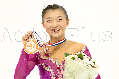 08.12.2016. Palais Omnisports, Marseille, France. ISU Junior Figure Skating Grand Prix Final.  Kaori Sakamoto (JPN) with her third placed medal.