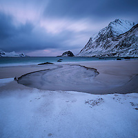 Winter at Haukland beach, Vestvågøy, Lofoten Islands, Norway