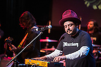 Camilo Lara adds electronic samples to the mix during Mexrrissey's performance at the Perelman Theater in Philadelphia on October 30, 2016.