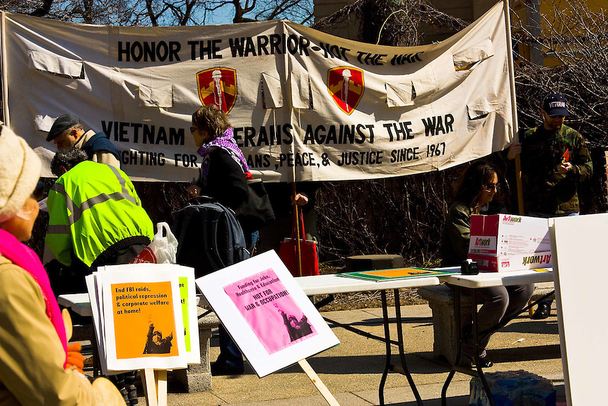 Chicago chapter Answer Coalition mass rally against American military involvement in Iraq and Afghanistan. Anti-War protest in downtown Chicago that began in Grant Park and moved north along Michigan Avenue.