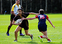 Action from the 2017 1st XV rugby Top Four girls' semfinal between Hamilton Girls' High School and Southland Girls' High School at Sport and Rugby Institute in Palmerston North, New Zealand on Friday, 8 September 2017. Photo: Dave Lintott / lintottphoto.co.nz