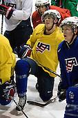 Luke Walker (USA - 14), AJ Jenks (USA - 22) - Team USA practiced at the Agriplace rink on Monday, December 28, 2009, in Saskatoon, Saskatchewan, during the 2010 World Juniors tournament.