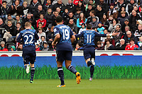 Pictured: Gareth Bale of Tottenham (R)  celebrating his goal. Saturday 30 March 2013<br /> Re: Barclay's Premier League, Swansea City FC v Tottenham Hotspur at the Liberty Stadium, south Wales.