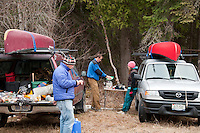 Car camping prior to a canoe trip at Lady Evelyn-Smoothwater Provincial Park Ontario Canada.