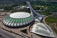aerial photograph of the Olympic Stadium, Stade olympique, and Biodome, Montreal, Quebec, Canada