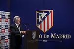 Atletico Madrid's President Enrique Cerezo speaks during the presentation of the striker Jackson Martinez as new player of the Spanish Primera Division soccer club at Vicente Calderon stadium in Madrid, Spain. July 26, 2015. (ALTERPHOTOS/Victor Blanco)