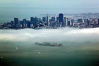 aerial photograph Alcatraz fog San Francisco skyline